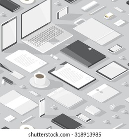 Seamless background pattern for business. Stationery office objects and computer devices.