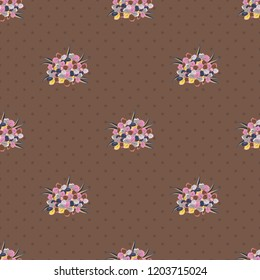 Seamless background pattern with decorative forget-me-not flowers and leaves in gray, brown and pink colors.