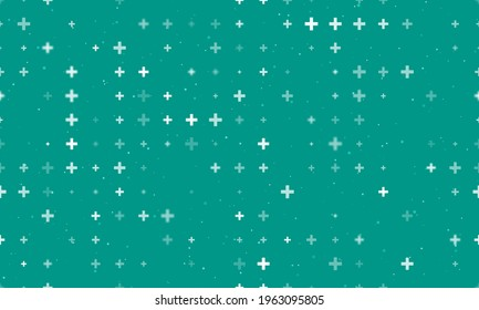 Seamless background pattern of evenly spaced white plus symbols of different sizes and opacity.  illustration on teal background with stars