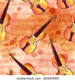 A seamless background pattern with hand drawn violins on an aged texture of sheet music with ink stains