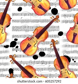 A seamless background pattern with hand drawn violins on sheet music with ink stains