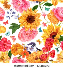 A seamless background pattern with many different hand painted watercolor flowers: sunflowers, peonies, roses, tulips, and others; and butterflies