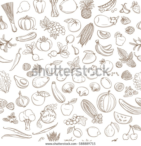 Seamless background pattern of organic farm fresh fruits and vegetables. illustration. Outline line flat style design. White backdrop.