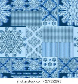 Seamless background pattern.  Patchwork with patches, pattern in rural style. Tile and wind