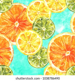 A seamless background pattern with vibrant hand drawn watercolour lemons, oranges, and limes, citrus repeat print on a teal texture