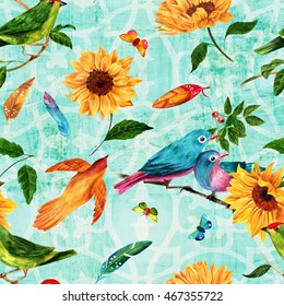 Seamless background pattern; watercolor drawings of birds (green, teal, and golden), vibrant feathers, butterflies, and sunflowers, hand painted on teal background with traditional Spanish ornament