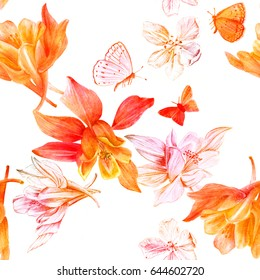 A seamless background pattern with watercolor drawings and pencil sketches of blooming fuchsia flowers and butterflies, golden toned