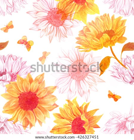 seamless background pattern watercolor pencil drawings stock