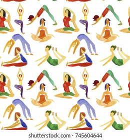 Seamless background with people practicing joga poses. Watercolor illustration.
