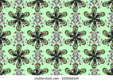 Seamless background. For print on fabric, textiles, wallpaper. Cute floral pattern with buds chamomile flowers. Vintage retro style. Raster illustration. Miles Fleur, ditsy ornament.