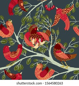 Seamless background red moving birds on tree branches with foliage. Flat detailed image in bright colors. Green summer leaves, berries isolated on dark background for scrapbooking
