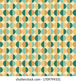 Seamless background with semicircles. Geometric texture in gold and green colors.