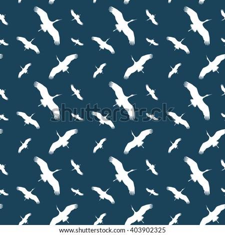 Seamless Background Silhouette Flying Birds Soars Stock Illustration