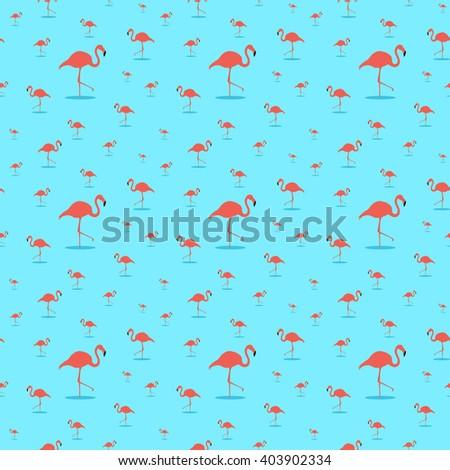Seamless Background Silhouette Flying Birds Flamingos Stock