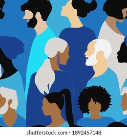 Seamless background of silhouettes of people in blue shades for textiles, paper, interior design, fabrics.