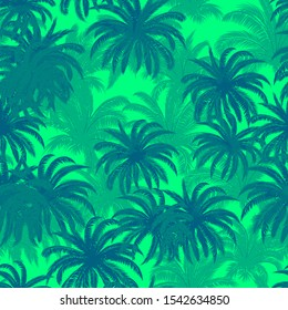 Seamless Background, Tropical Palm Trees, Crowns with Leaves, Green and Blue, Tile Pattern.