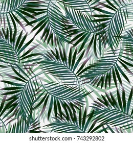 Seamless background. Tropics.Monstera.Exotic plants. Watercolor.