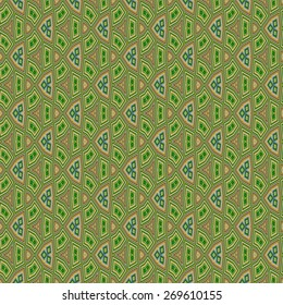 Seamless background - wallpaper with dominant green color on old style