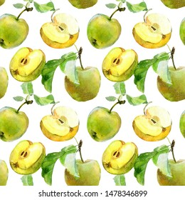 Seamless background with watercolor pears and apples. Watercolor illustration for textiles, fabric and pattern. Hand drawn watercolor painting