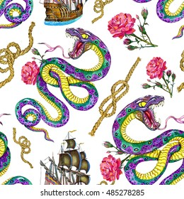 Seamless background with watercolor snake, old sailing ship and rose flower. Fantasy endless illustrations with vintage transportation concept, hand drawn nautical pattern on white