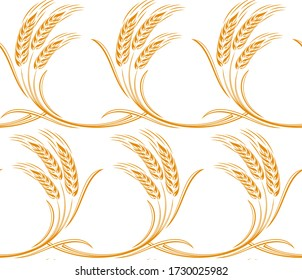 A seamless background with wheat cones.