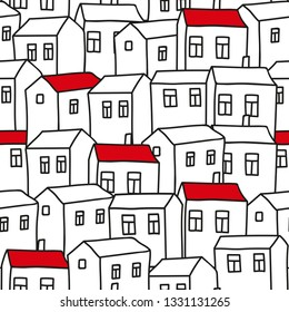 Seamless background white houses with a red roof. bitmap