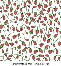 Seamless background of wild strawberries. Endless pattern for your design. raster copy