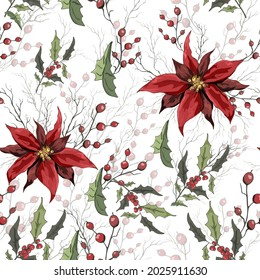 seamless background of winter flowers (poinsettia, mistletoe, Holly) isolated on a white background. realistic hand-drawn compositions of bouquets. gold  decorations for  Wallpaper, print. illustration