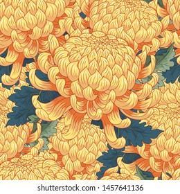 Seamless background with yellow flowers Japanese  chrysanthemums