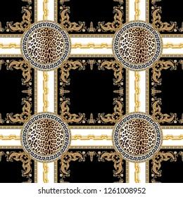 Seamless baroque, lepard skin, chain plaid, stripe pattern, retro and ethnic design illustration , border, golden square baroque, greek meander
