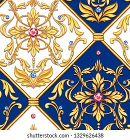 Seamless baroque pattern with decorative golden leaves and gems