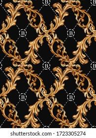 seamless baroque plaid pattern. golden antique fabric print.