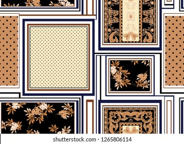 seamless baroque, polka dots, flowers, stripe, square, patchwork pattern. vintage