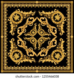 seamless baroque scarf design black gold white model