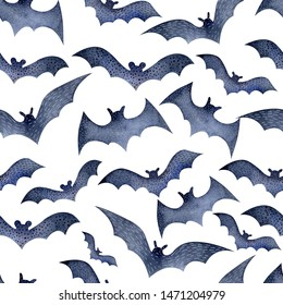 Seamless bat pattern for Halloween on white watercolor background. Decoration for the autumn holiday. Mystical, fabulous, fun style. Bright background for packaging, textiles, Wallpaper