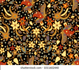 Seamless Batik Pattern.Able to repeat for textile printing.