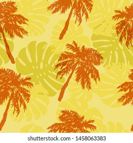 seamless beach pattern, tropical palm trees and leaves on a yellow background. sultry summer day on the beach.