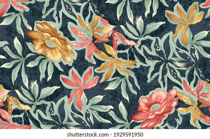 Seamless beautiful abstract colorful watercolor flower with leaf garden colorful pattern on blue background