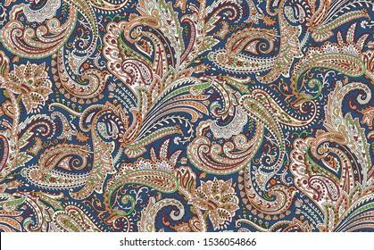 Seamless beautiful ethnic Paisley pattern on Navy background