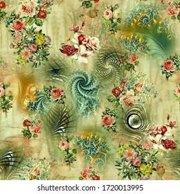 Seamless Beautiful Flower illustration pattern
