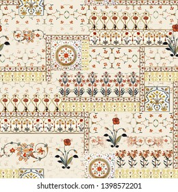 Seamless beautiful mughal floral with ethnic paisley with pattern on digital cream background