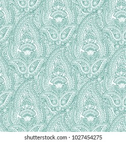 Seamless beautiful paisley pattern with detailed half drop paisley designs. Lace paisley