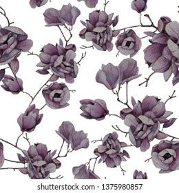 Seamless beautiful pattern with magnolia. Botanical pattern with flovers. For design, print, textile, wedding decor and more.