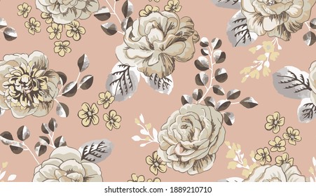 Seamless beautiful vintage rose floral pattern