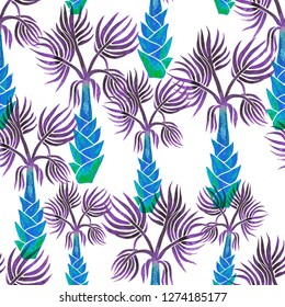 Seamless beautiful vintage styled pattern with blue palms