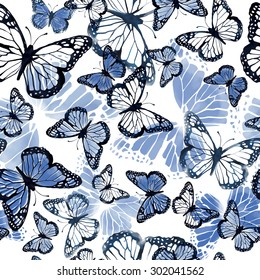 seamless beautiful watercolor artistic gentle blue butterflies pattern. romantic, pastel background print. tropical flying creatures.