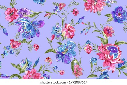 Seamless beautiful watercolor botanical colorful flowers with leaf bouquet garden pattern on violet background summer pattern