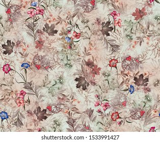 Seamless beautiful watercolor leaves pattern on abstract digital floral textures background pattern