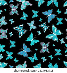 Seamless. Black, blue and white butterflies. Superb background for design of fabric, paper, wrappers and wallpaper. Exotic animals.