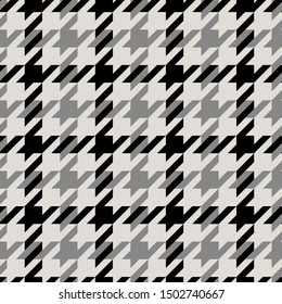 seamless black and gray crowbar plaid pattern with on beige background